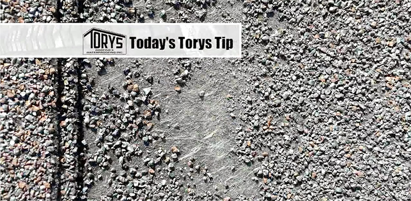 Torys tip, loose shingle granules is a sign of weathered shingles